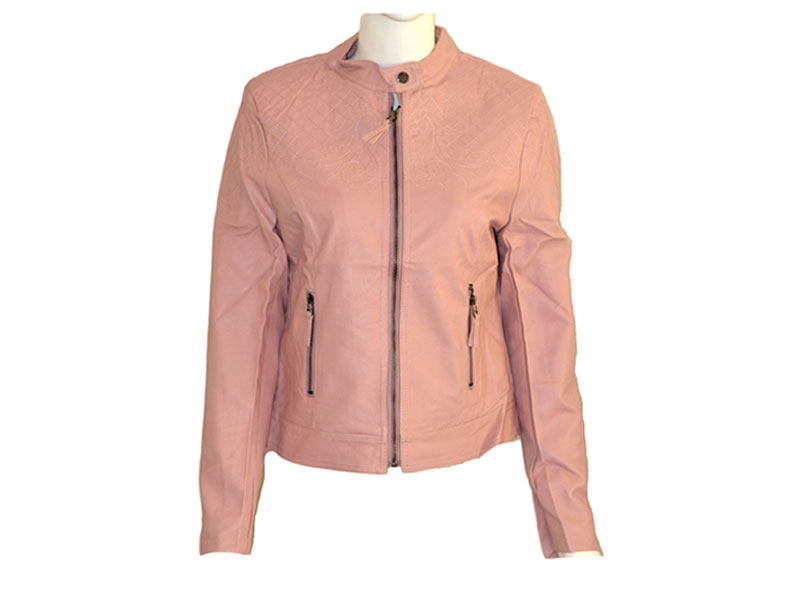 Stylish Pink Faux Leather Jacket for Women
