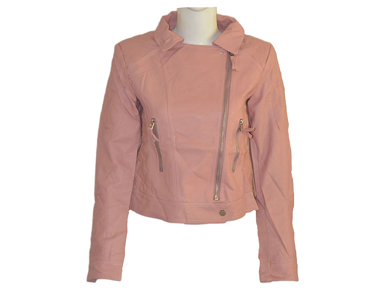 Full Pink Faux Leather Jacket for Women