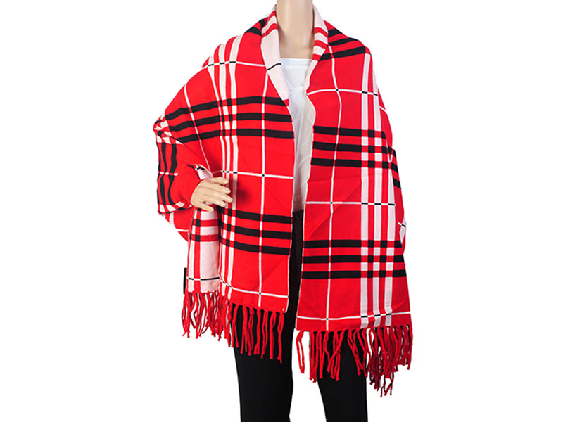Red Pashmina Winter Poncho for Women