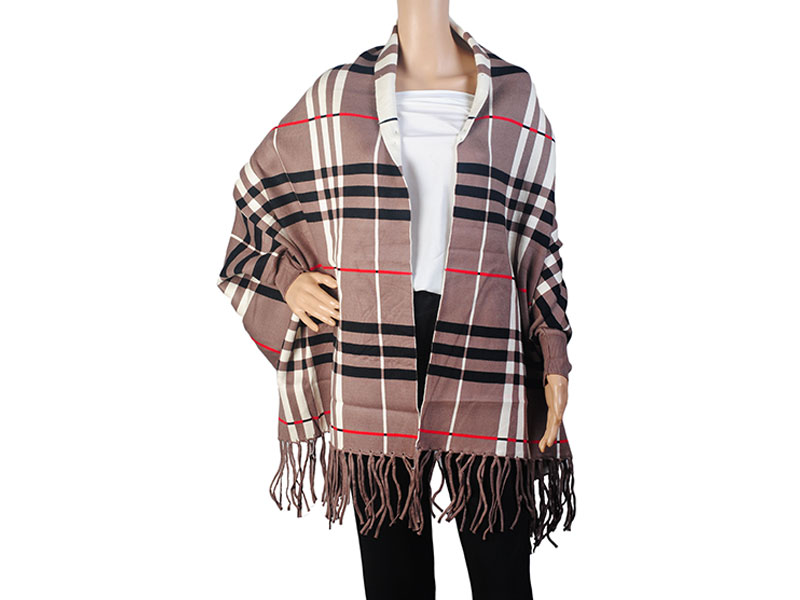 Brown Pashmina Winter Poncho for Women