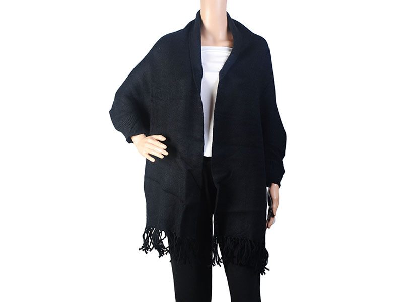 Black  Pashmina Winter Poncho for Women
