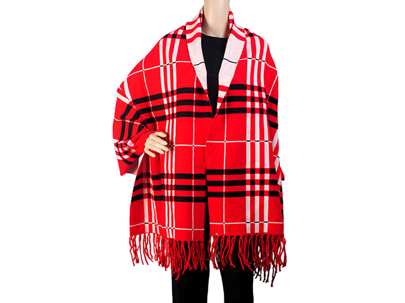 Red & Black Pashmina Winter Poncho for Women