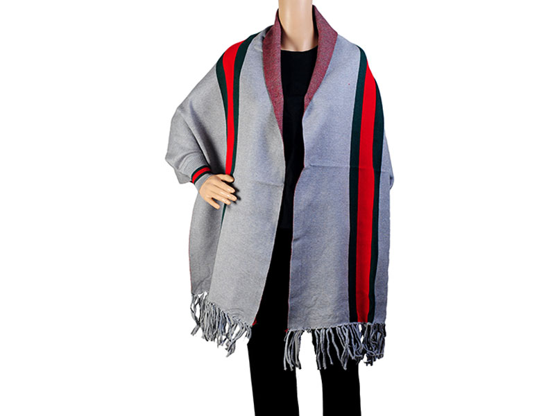 Gray & Red  Pashmina Winter Poncho for Women