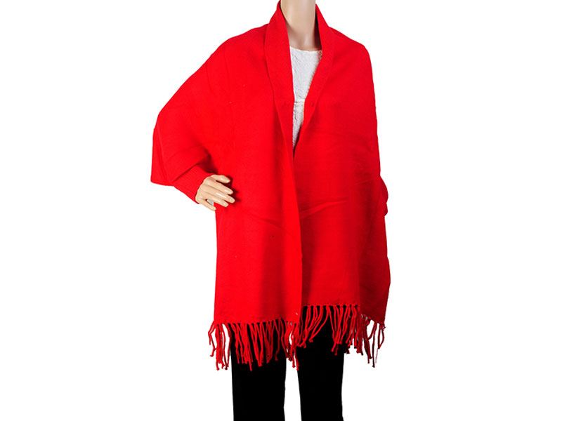 HoT Red Pashmina Winter Poncho for Women