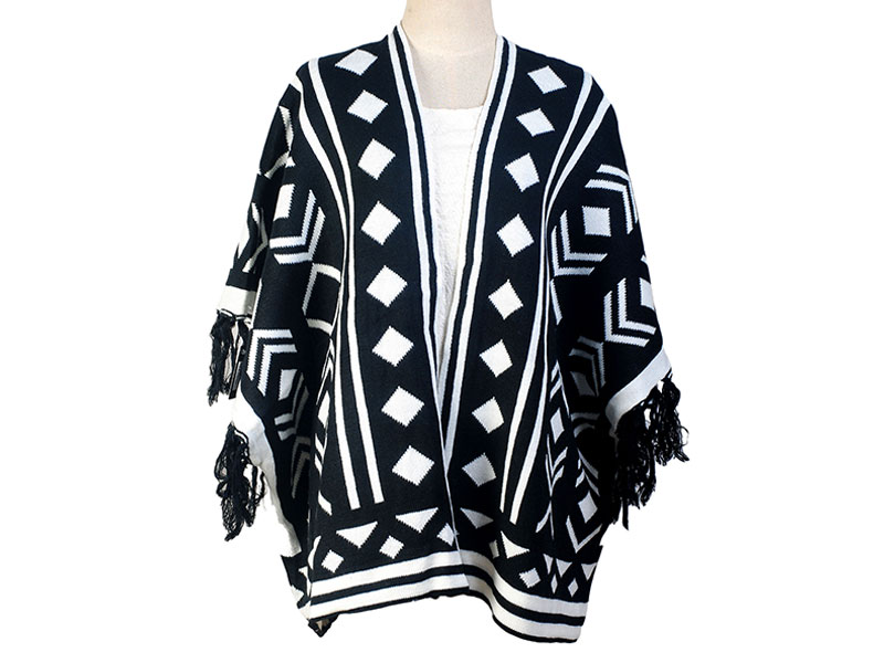 Black and White Wool Winter Poncho for Women