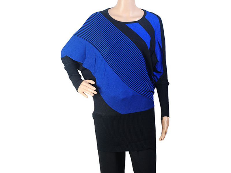 Black and Blue Knit Winter Long Top for Women
