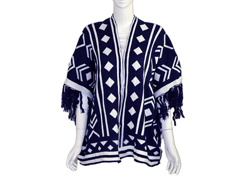 Blue Winter Poncho for Women