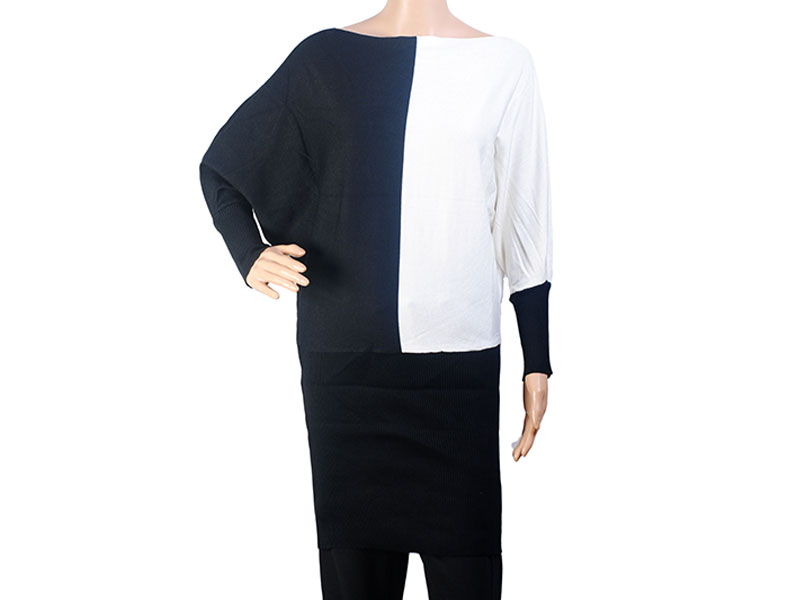 Black and White Knit Winter Long Top for Women