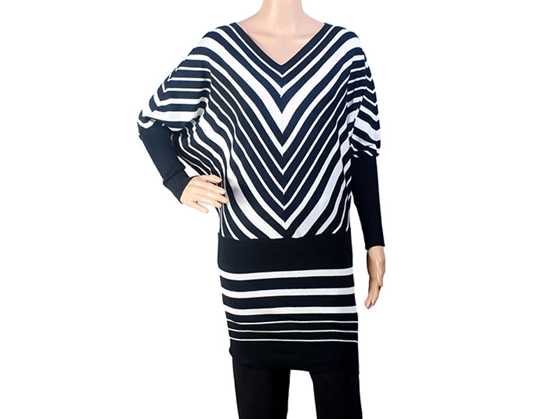 Black and White Stripe  Knit Winter Long Top for Women