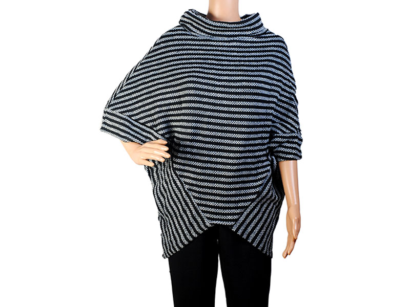 Black and Grey Knit Winter Top for Women