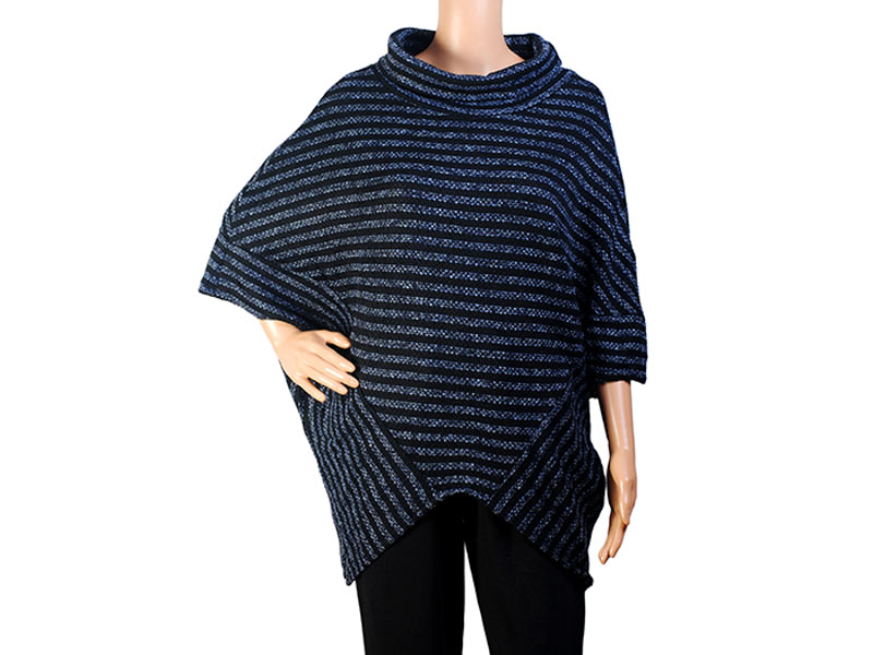 Black and Blue Knit Winter Top for Women