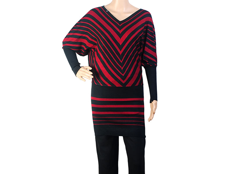 Black and Red Knit Winter Long Top for Women