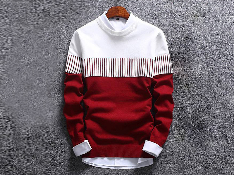 Men's Maroon and White Sweater