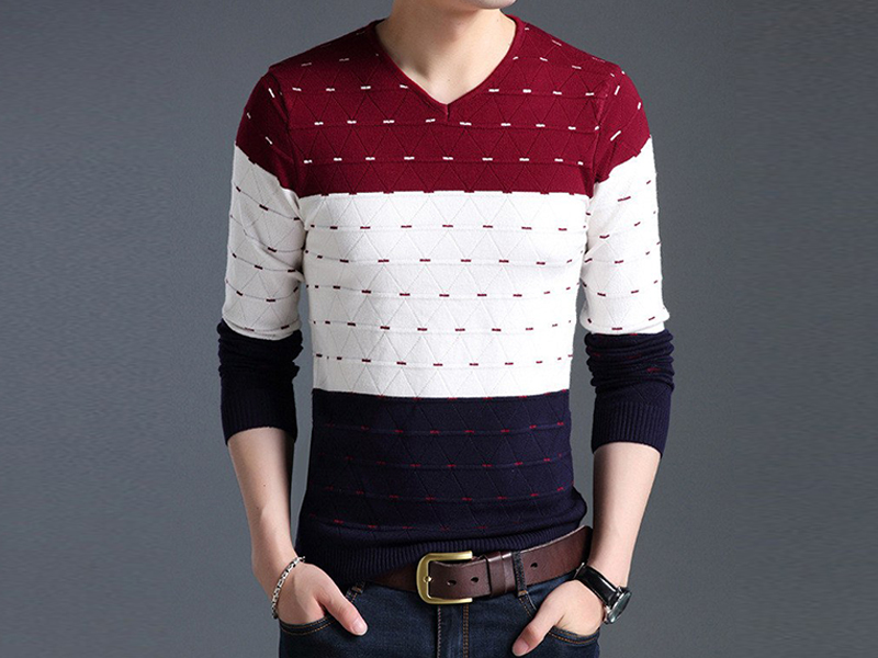 Men's Red, White & Blue Sweater