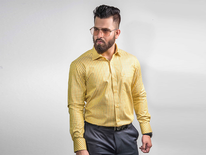 COUNTRY BOY YELLOW FANCY CHECK RELAX FIT FULL SHIRT FOR MEN-