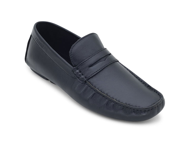 Black Causal Leather Moccasins For Men-8546948