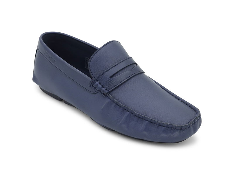 Blue Causal Leather Moccasins For Men-8549948