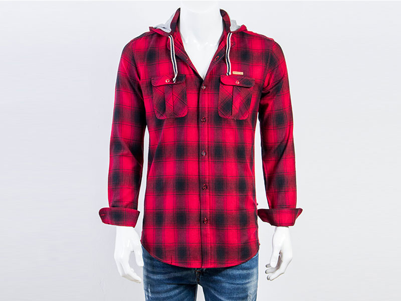 Country Boy Maroon Check Cotton Long Sleeve Hoodie Casual Shirt CF-2385