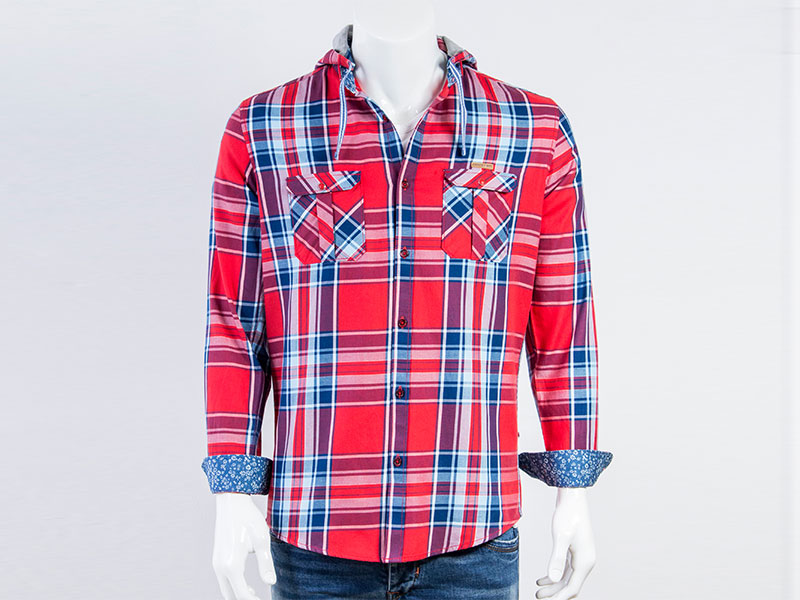 Country Boy Red Check Cotton Long Sleeve Hoodie Casual Full Shirt CF-2383