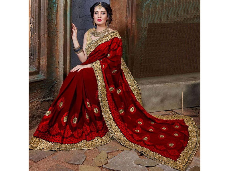 Maroon and Red Georgette Saree