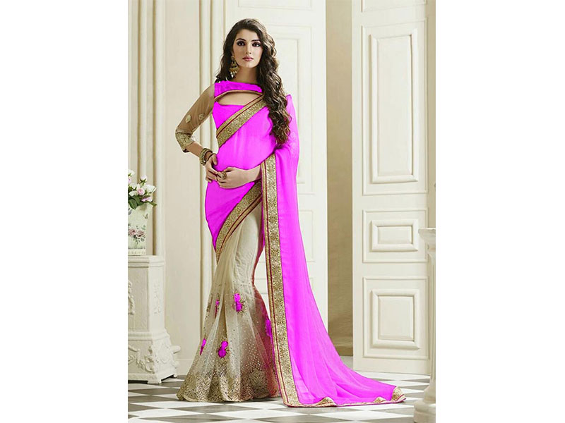 Pink and Beige Color Georgette Saree