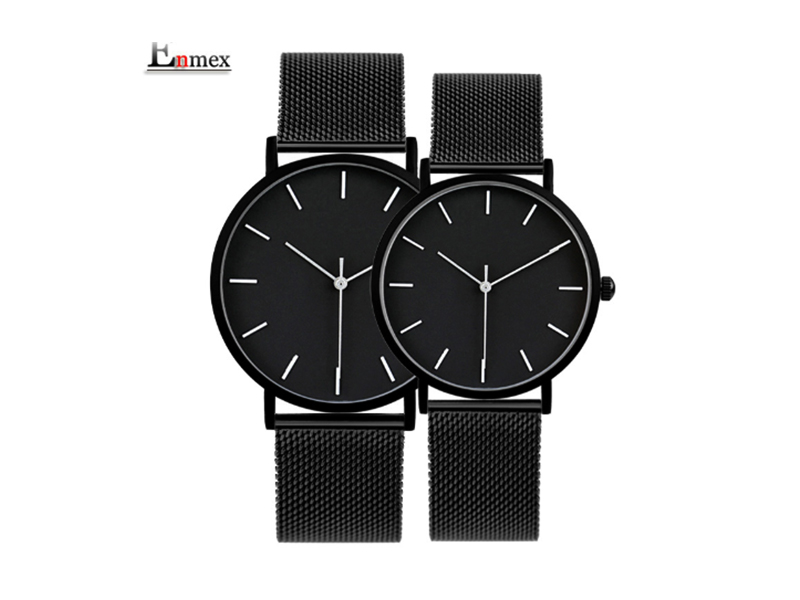 Enmex Couple Wrist Watch With Stylish Bracelet