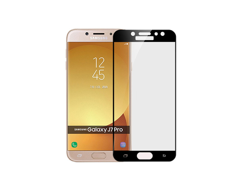 Samsung J7 Pro Full Glued Tempered Glass Screen Protector