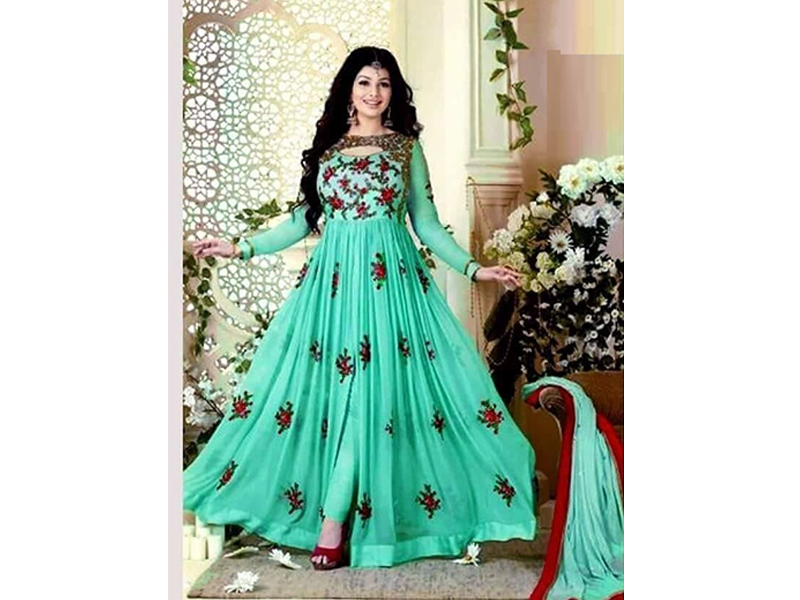 Full Sleeve Party Dress - Mint Color