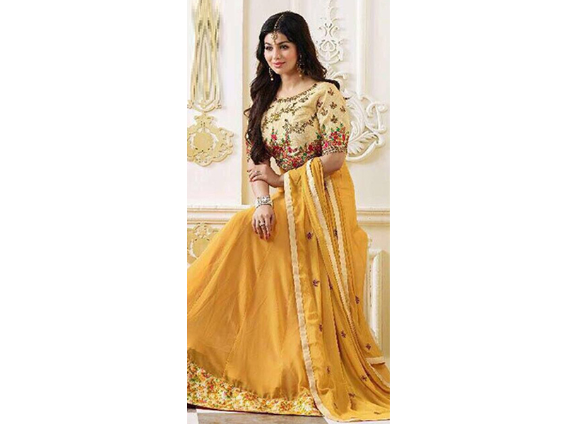 Semi Stitched Yellow Color Party Dress