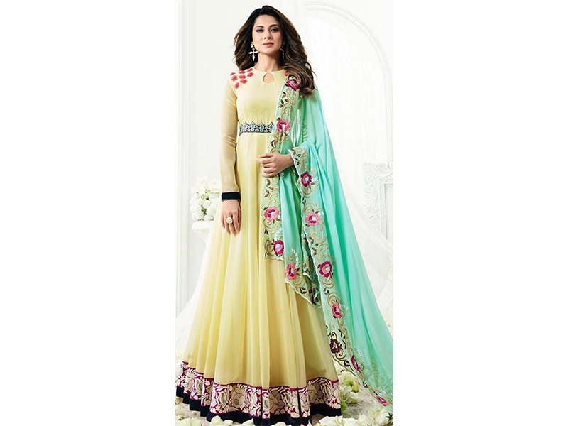 Semi Stitched Yellow Color Full Sleeve Party Dress