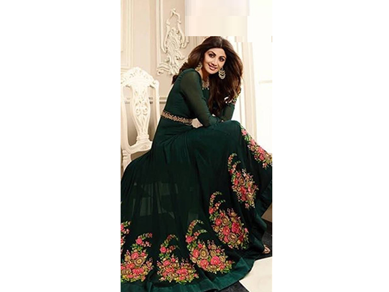 Full Sleeve Green Color Party Dress