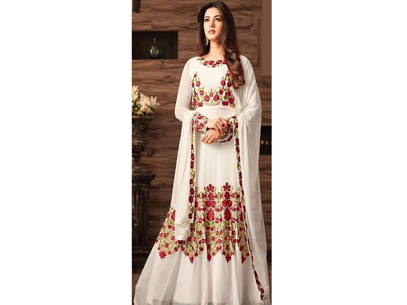White Color Full Sleeve Party Dress