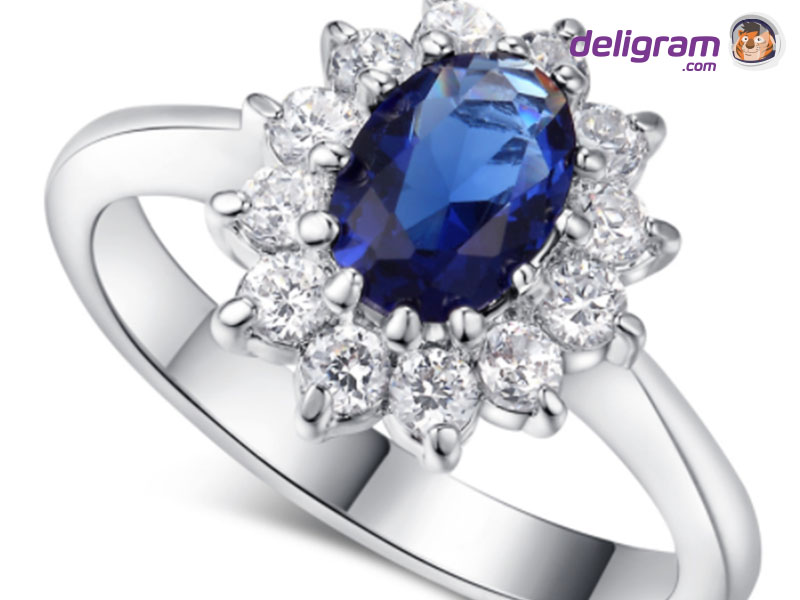 B&B Silver Colored Ring With Sapphire