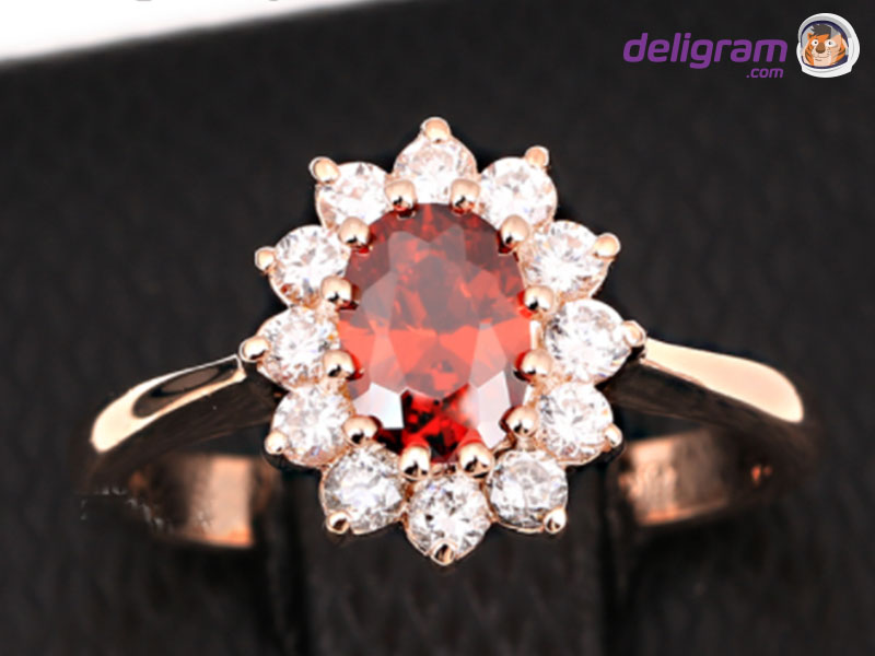 B&B Golden Ring With Red Gem