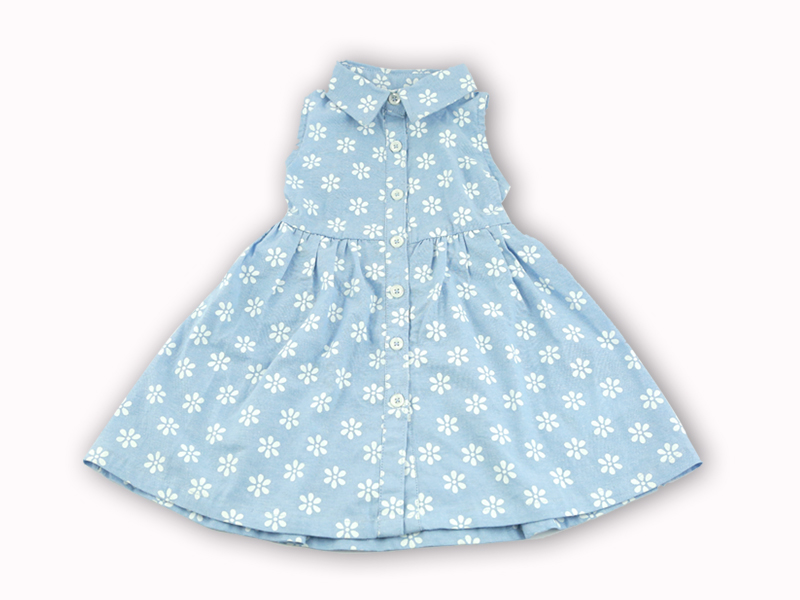 Small White Flower Print Cotton Baby Frock DG-0041