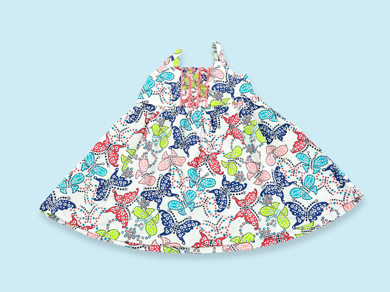 Butterfly Print Cotton Baby Frock DG-0026