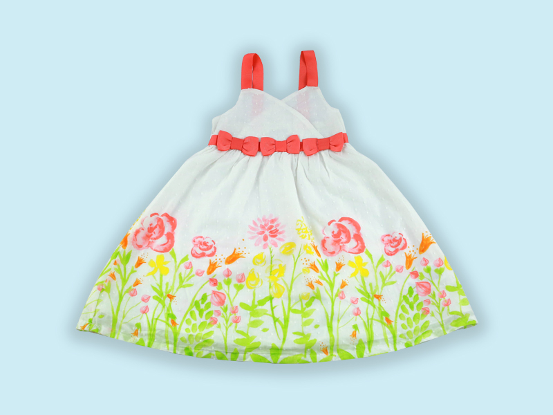 Artistic Flower Print With Emboss Cotton Baby Frock DG-30