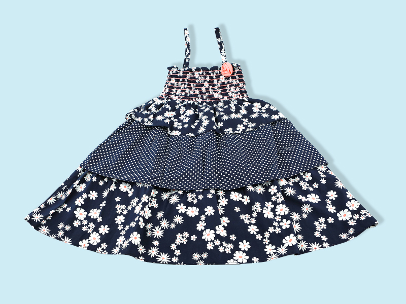 Flower Print Sleeve Less Cotton Baby Frock DG-0063