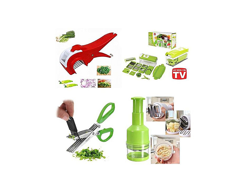 Master Kitchen 4 In 1 Vegetable Cutter & Chopper - Green and Red