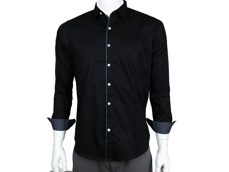Sueno Classic solid Black shirt detailed with deep gray lining