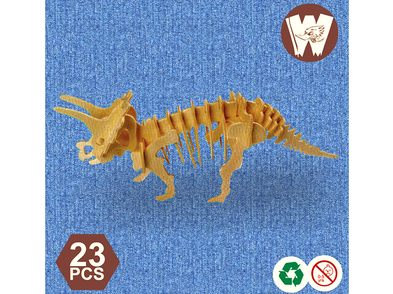 3D Wooden Puzzle- Triceratops Dinosaur
