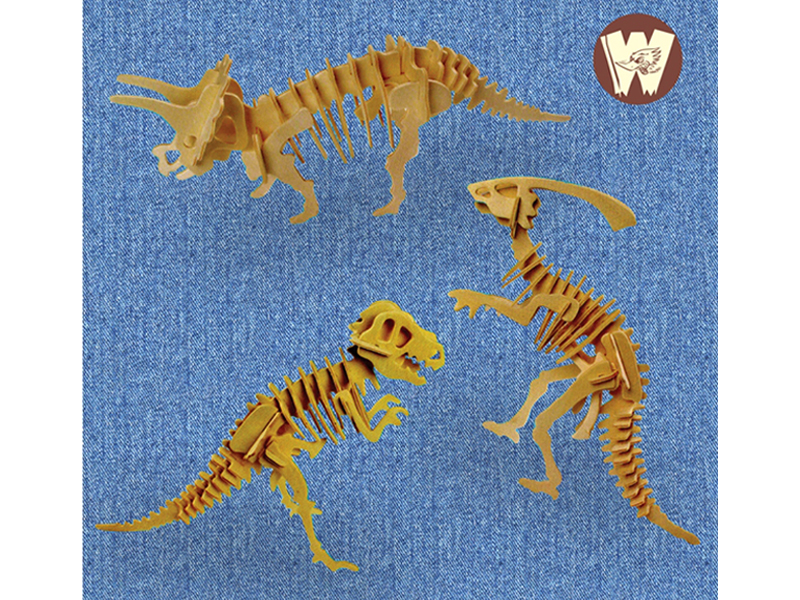 3D Wooden Dinosaraus Puzzle Set - 1 (3 Model)