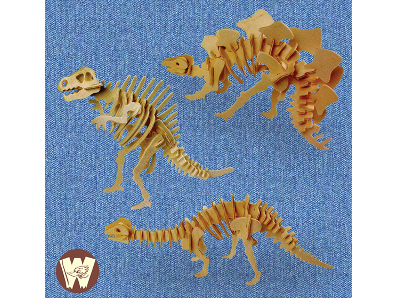3D Wooden Dinosaraus Puzzle - 2 (3 Model)