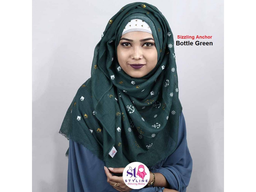 Sizzling Anchor Autumn Cotton Hijab  (Bottle Green 20)