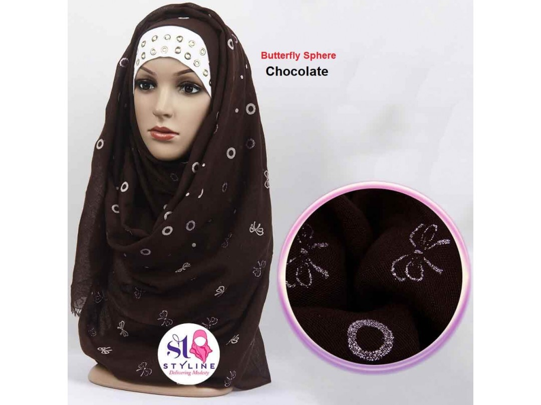 Butterfly Sphere Autumn Cotton Hijab - Chocolate 17