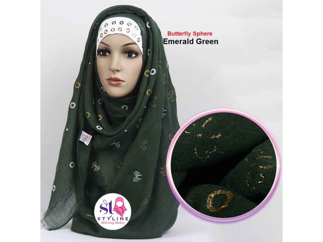 Butterfly Sphere Autumn Cotton Hijab - Emerald Green 9