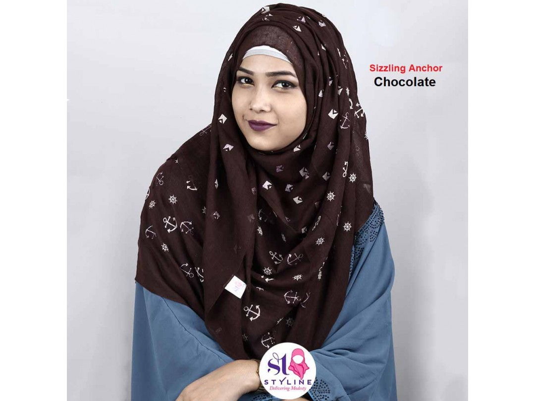 Sizzling Anchor Autumn Cotton Hijab - Chocolate 26