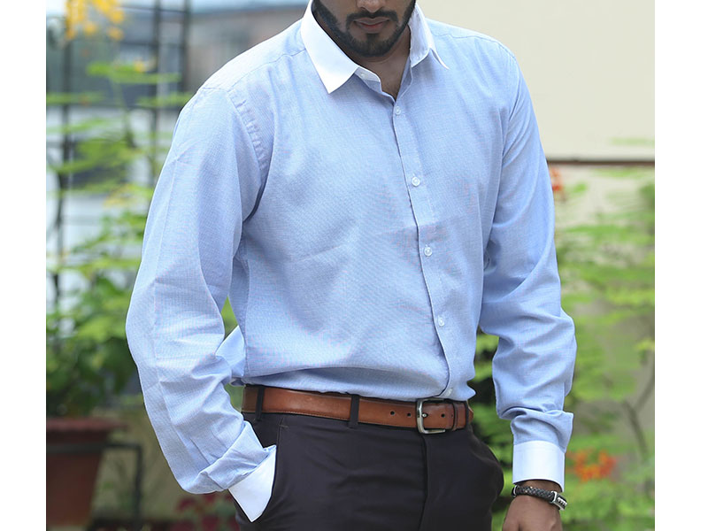 Sueno Sky blue Cotton shirt with white collar and cuffs