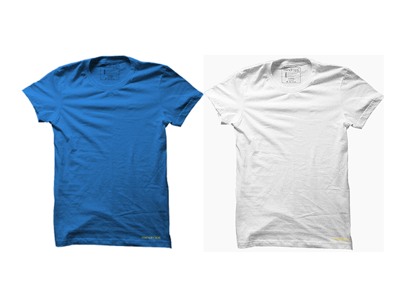 Raindrops Double Combo T-Shirt- Blue and White