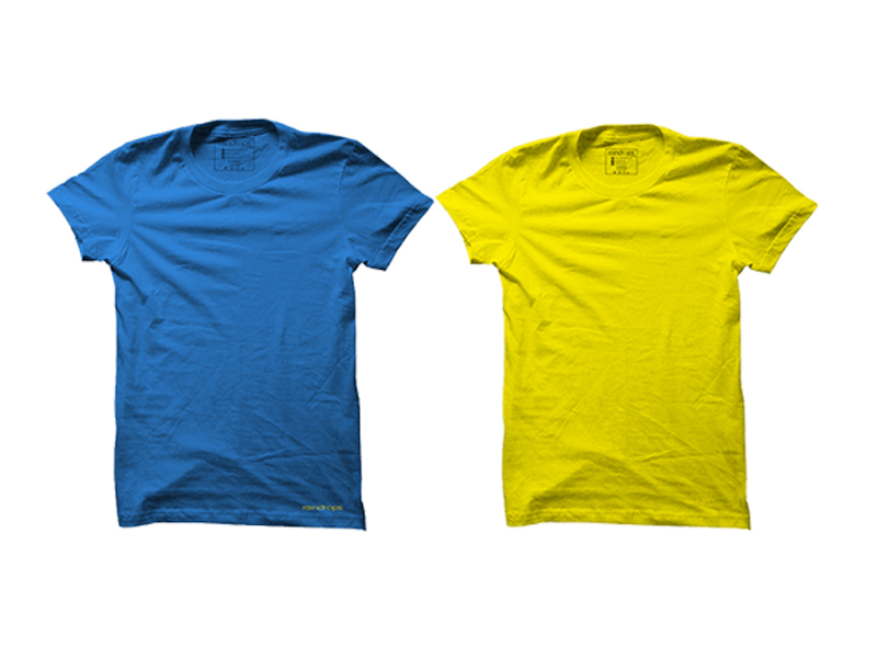 Raindrops Double Combo T-Shirt- Blue and Yellow